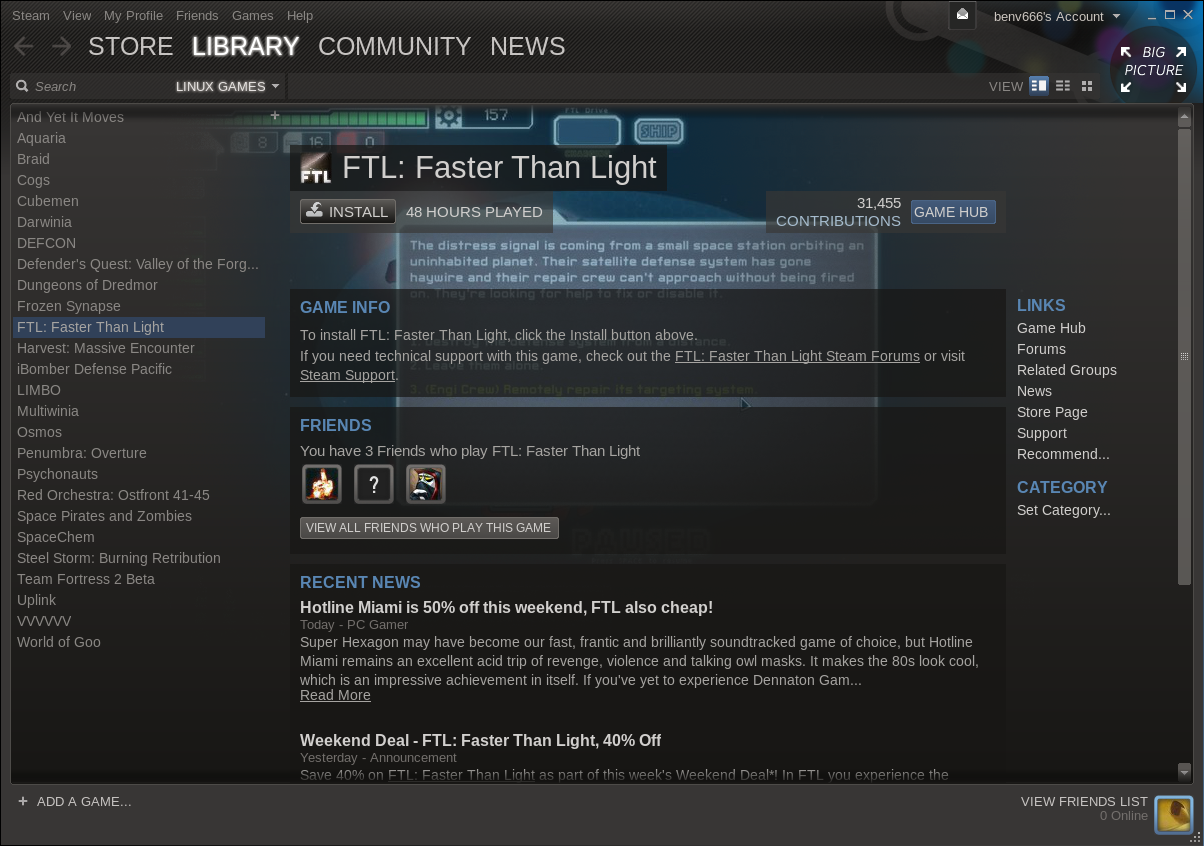 Steam for Linux Beta on Slackware - Games Library